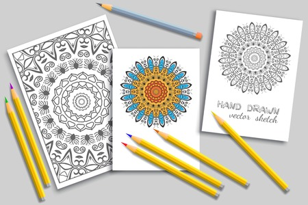 Coloring page and cards with colorful pencils mock-up