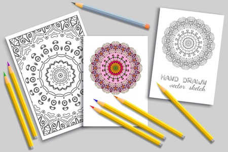 Coloring page and cards with colorful pencils mock-up.