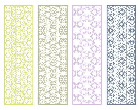 Decorative geometric line borders with repeating texture. Stock Illustratie