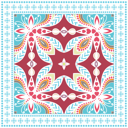 Decorative colorful ornament on a white background. Illustration
