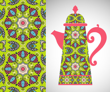 Teapot with decorative ornament and seamless pattern. Stock Illustratie
