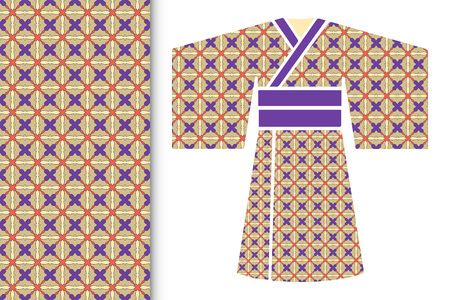 Fashion illustration. Stylized ethnic Japanese kimono
