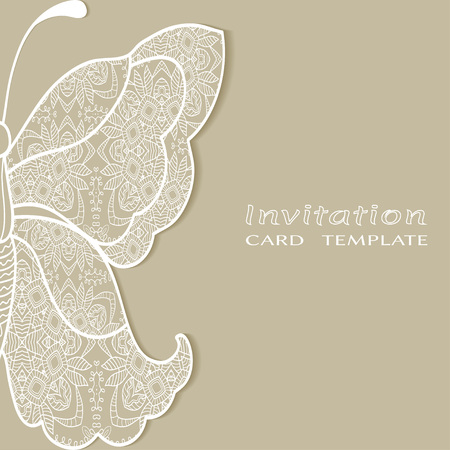 Invitation or Card template with lace border, butterfly wing.