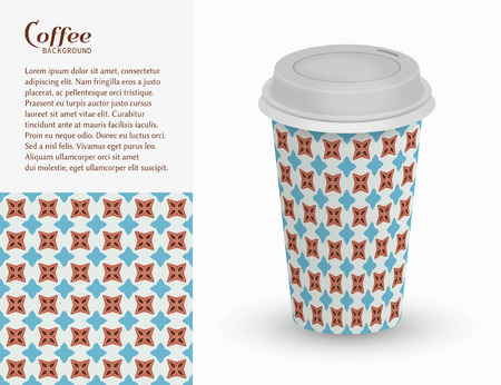 Cardboard paper cup of coffee and seamless pattern. Illustration