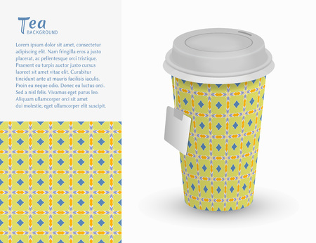 Cardboard paper cup of tea and seamless pattern. Stock Illustratie