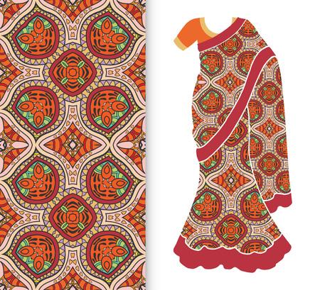 Vector fashion illustration, stylized Indian sari, dress model