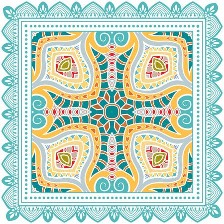 Decorative colorful ornament on a white background. Stock Illustratie