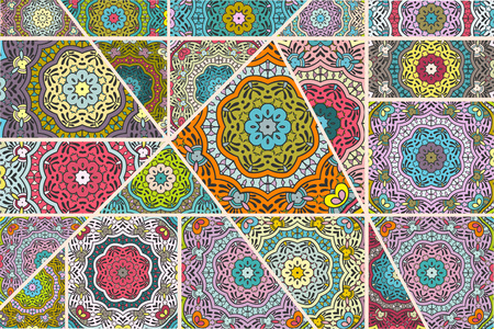 Vector patchwork quilt pattern.
