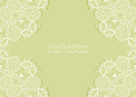 Invitation or Card template with lace mandala border Stock Illustratie