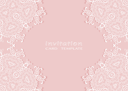 Invitation or Card template with lace mandala border.