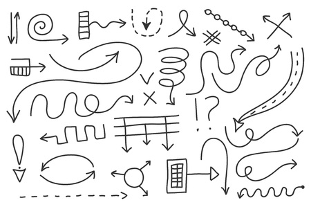 Vector doodle arrow set 4. Isolated symbols, design elements. Hand drawn signs collection, black on white background