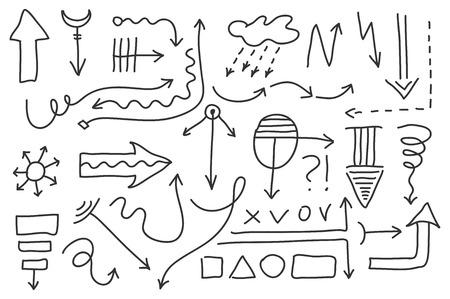 Vector Doodle Arrow Set 5 Isolated Symbols Design Elements