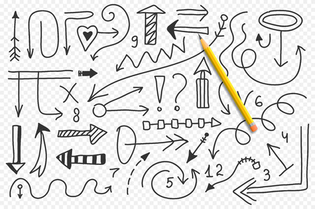 Vector doodle arrow set. Isolated symbols, design elements Stock Illustratie