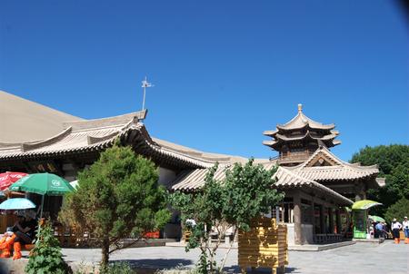 crescent lake: Scenery at the Mingsha Crescent Lake Editorial
