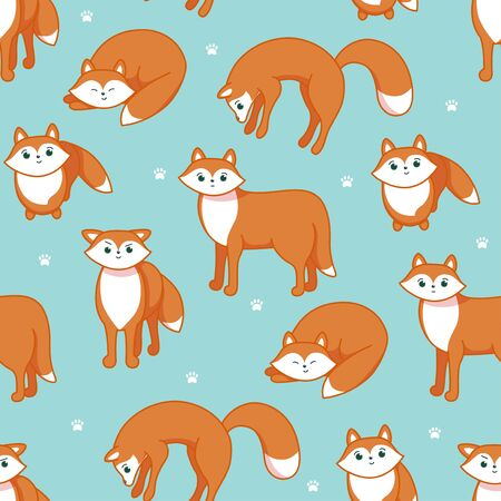Animal seamless pattern . Red fox on blue bakground. Pattern for textile, fablic, paper and clothes. Vector illustration in cute cartoon style