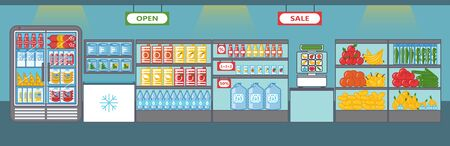 Supermarket. Fruits, vegetables, drinks, sausages and other products. Scale for weighting. Shelves and fridges with food stuff. Vector illustration in cartoon style