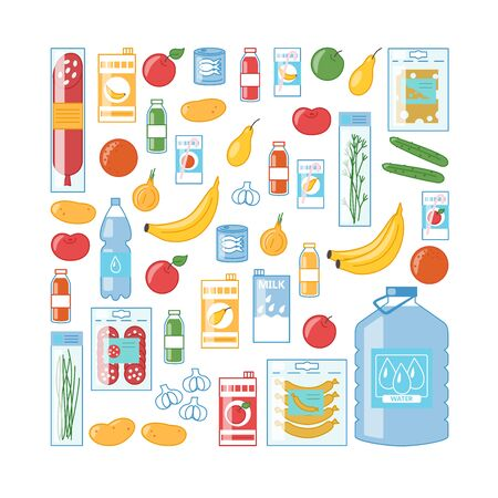 Variety of food products: fruits, vegetables, juice, water, cheese and sausages. Big grocery set. Package of vector illustrations in cartoon style 向量圖像