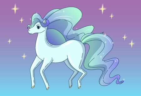 Pretty horse with waving mane and tail, shining like a brilliant. Vector illustration in cute cartoon style