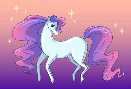 Pretty horse with waving mane and tail, shining like a brilliant. Vector illustration in cute cartoon style Illustration