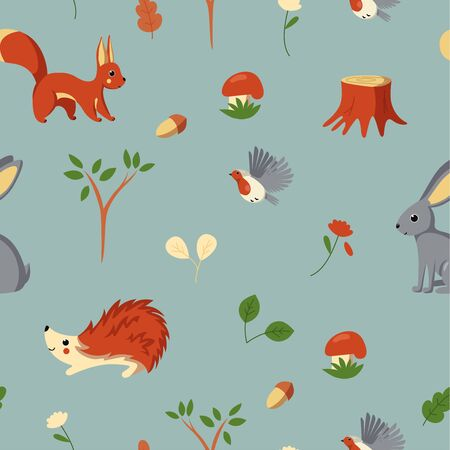 Seamless pattern with woodland animals, birds, mushrooms and plants. Design for textile, fabric and paper. Vector illustration in cute cartoon style