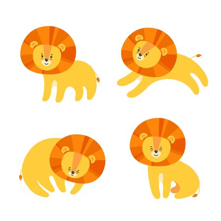 Set of happy lions for prints and patterns on textile, paper and other materials. Vector illustration in cute cartoon style