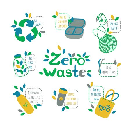 Zero waste set. Symbols of recycling and reducing pollution. Inscriptions encouraging reuse of different things. Vector illustration in nice flat style