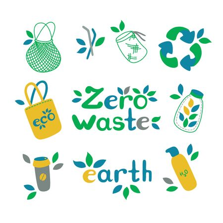Zero waste set. Symbols of recycling and reducing pollution. Vector illustration in nice flat style