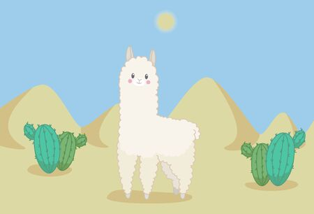 Fluffy lama in the desert with cactuses and sandy dunes under midday sun. Vector illustration in cute cartoon style Vetores