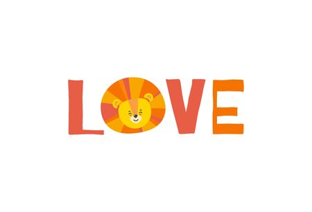 Print with the head of lion standing for O in the word love. Vector illustration in flat style