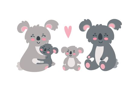 Koala family set. Happy mom, dad and two children sitting together. Vector illustration in cute flat style