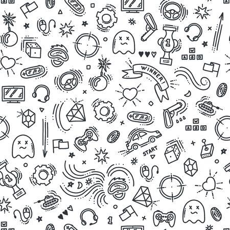 Nahtloses Muster von Spielobjekten. Virtual Reality, Computer, Spielgenres und ähnliches. Vektorillustration im Doodle-Stil