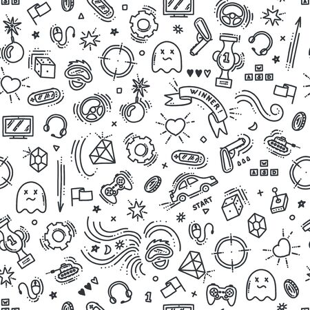 Seamless pattern of gaming objects. Virtual reality, computers, game genres and related stuff. Vector illustration in doodle style