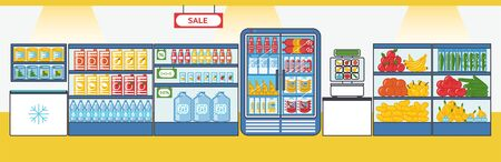 Supermarket with fruits, vegetables, drinks, sausages and other products. Shelves and fridges with food stuff. Vector illustration in cartoon style