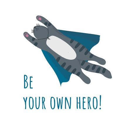 Print with flying tabby supercat in bright blue cape. Vector illustration in flat style Çizim