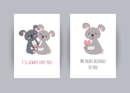 Greeting cards with koalas for St. Valentine day. Vector illustration in cute flat style
