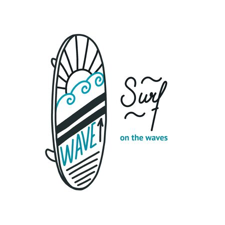 Surf on the ocean waves. Vector illustration in doodle style for prints Illustration
