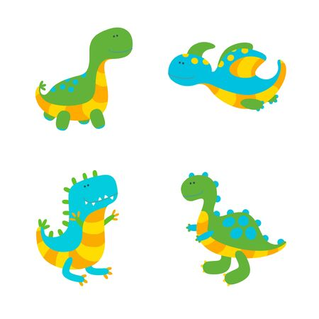 Set of four colorful dinosaurs on white background. Vector illustration in cute flat style Vettoriali