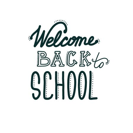 Back to school banner with lettering. Hand drawn inscription welcoming students and pupils. Vector illustration in doodle style