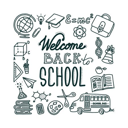 Welcome back to school banner with lettering. Hand drawn objects needed in school and associated with education. Vector illustration in doodle style