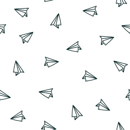 Seamless pattern with handmade paper plane. Hand drawn vector illustration in doodle style. Print with origami planes
