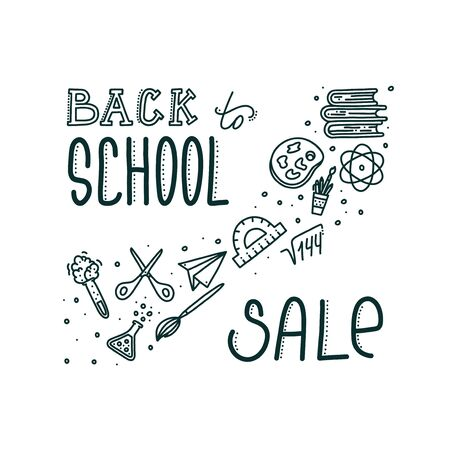 Back to school sale banner with lettering. Hand drawn inscription and objects associated with education. Vector illustration in doodle style