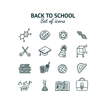 Back to school set of isolated icons. Hand drawn inscription and objects associated with education. Vector illustration in doodle style Illustration