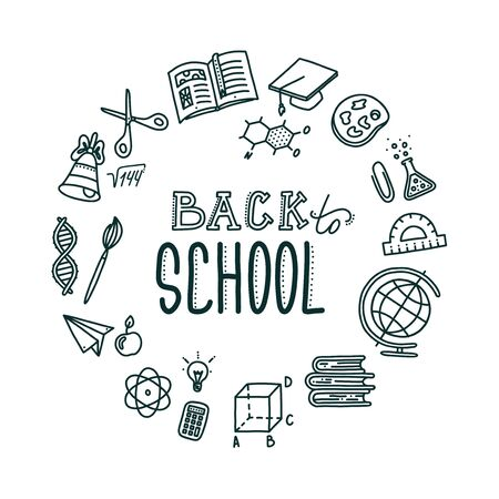 Back to school round banner with lettering. Hand drawn objects needed in school and associated with education. Vector illustration in doodle style