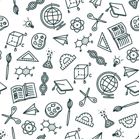 Seamless pattern on back to school topic. Hand drawn objects needed in school and associated with education. Vector illustration in doodle style