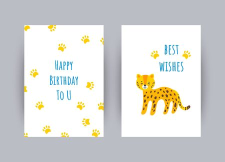 Greeting cards with best wishes for a birthday. Colorful celebration cards with leopard and its paw prints. Vector illustration in flat style Ilustracja