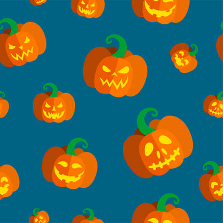 Seamless pattern with carved pumpkins for Halloween. Vector illustration in blue background Ilustração