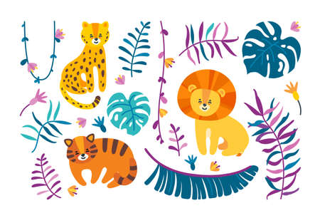 Isolated big cats with jungle leaves and lianas. Leopard, lion and tiger with different plants. Template with tropical theme. Vector illustration in flat style Illustration