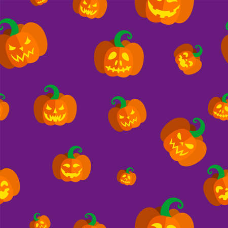 Seamless pattern with illuminated carved pumpkins for Halloween. Vector illustration in purple background