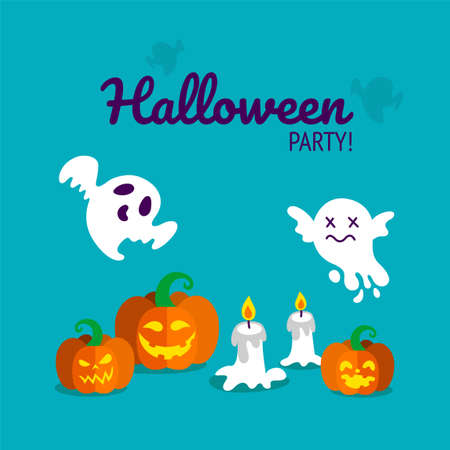 Halloween party print with carved pumpkins, candles and spooky ghosts. Vector illustration in blue background