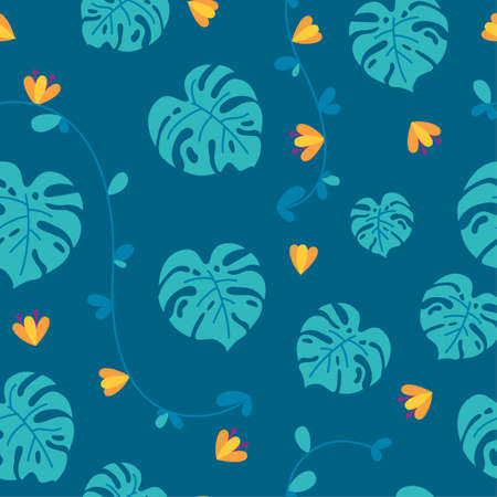 Jungle seamless pattern with flowers, monstera leaves and lianas in blue background. Tropical plants in repeatable ornament. Vector illustration in flat style Vettoriali